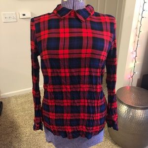 Forever 21 Ultra Soft Collared Plaid Blouse Medium